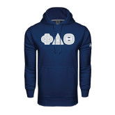 Under Armour Navy Performance Sweats Team Hood-Greek Letters in Tackle Twill