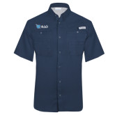 Columbia Tamiami Performance Navy Short Sleeve Shirt-Shield/Phi Delta Theta Symbols