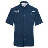 Columbia Tamiami Performance Navy Short Sleeve Shirt-Phi Delta Theta Symbols