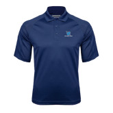 Navy Textured Saddle Shoulder Polo-Stacked Shield/Phi Delta Theta