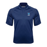 Navy Textured Saddle Shoulder Polo-Stacked Shield/Phi Delta Theta Symbols