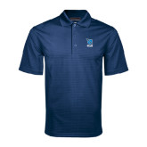 Navy Mini Stripe Polo-Stacked Shield/Phi Delta Theta Symbols