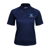 Ladies Navy Textured Saddle Shoulder Polo-Stacked Shield/Phi Delta Theta