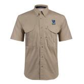 Khaki Short Sleeve Performance Fishing Shirt-Stacked Shield/Phi Delta Theta Symbols