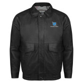Black Leather Bomber Jacket-Stacked Shield/Phi Delta Theta