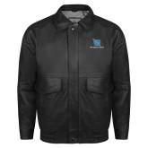 Black Leather Bomber Jacket-Stacked Shield/Phi Delta Theta