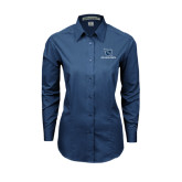Ladies Deep Blue Tonal Pattern Long Sleeve Shirt-Stacked Shield/Phi Delta Theta