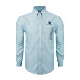 Mens Light Blue Oxford Long Sleeve Shirt-Stacked Shield/Phi Delta Theta