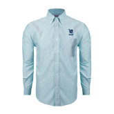 Mens Light Blue Oxford Long Sleeve Shirt-Stacked Shield/Phi Delta Theta Symbols