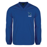 V Neck Royal Raglan Windshirt-Stacked Shield/Phi Delta Theta Symbols