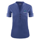 Ladies Ogio Indigo Blue Fashion Henley-Stacked Shield/Phi Delta Theta