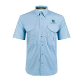 Light Blue Short Sleeve Performance Fishing Shirt-Stacked Shield/Phi Delta Theta