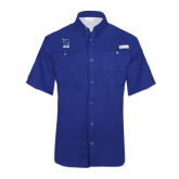 Columbia Tamiami Performance Royal Short Sleeve Shirt-Stacked Shield/Phi Delta Theta Symbols