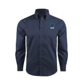 Red House Deep Blue Herringbone Long Sleeve Shirt-Stacked Shield/Phi Delta Theta Symbols