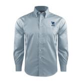 Red House Lt Blue Long Sleeve Shirt-Stacked Shield/Phi Delta Theta Symbols
