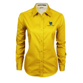 Ladies Gold Twill Button Down Long Sleeve-Stacked Shield/Phi Delta Theta