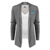Ladies Heather Grey Open Front Cardigan-Stacked Shield/Phi Delta Theta