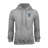 Grey Fleece Hoodie-Stacked Shield/Phi Delta Theta Symbols