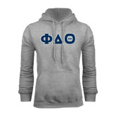 Grey Fleece Hoodie-Greek Letters in Tackle Twill