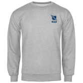 Grey Fleece Crew-Stacked Shield/Phi Delta Theta Symbols