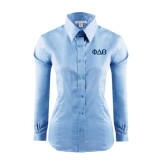 Ladies Red House Light Blue Long Sleeve Shirt-Phi Delta Theta Symbols