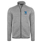 Grey Heather Fleece Jacket-Stacked Shield/Phi Delta Theta Symbols
