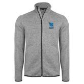 Grey Heather Fleece Jacket-Stacked Shield/Phi Delta Theta Symbols