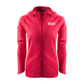 Ladies Tech Fleece Full Zip Hot Pink Hooded Jacket-Phi Delta Theta Symbols