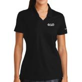 Ladies Nike Golf Dri Fit Black Micro Pique Polo-Phi Delta Theta Symbols