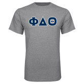 Grey T Shirt-Greek Letters in Tackle Twill