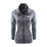 Ladies Sport Wick Stretch Full Zip Charcoal Jacket-Phi Delta Theta Symbols
