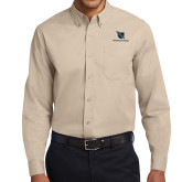 Khaki Twill Button Down Long Sleeve-Stacked Shield/Phi Delta Theta
