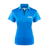 Ladies Light Blue Performance Fine Jacquard Polo-Phi Delta Theta Symbols