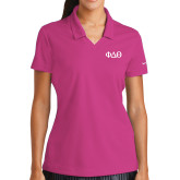 Ladies Nike Golf Dri Fit Fuchsia Micro Pique Polo-Phi Delta Theta Symbols