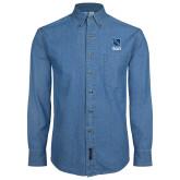 Denim Shirt Long Sleeve-Stacked Shield/Phi Delta Theta Symbols