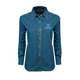 Ladies Denim Long Sleeve Shirt-Stacked Shield/Phi Delta Theta