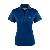 Ladies Navy Performance Fine Jacquard Polo-Stacked Shield/Phi Delta Theta