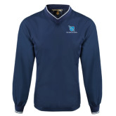 Navy Executive Windshirt-Stacked Shield/Phi Delta Theta
