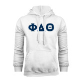 White Fleece Hoodie-Greek Letters in Tackle Twill