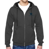 Charcoal Fleece Full Zip Hoodie-Stacked Shield/Phi Delta Theta