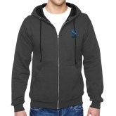 Charcoal Fleece Full Zip Hoodie-Stacked Shield/Phi Delta Theta Symbols