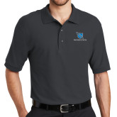 Charcoal Easycare Pique Polo-Stacked Shield/Phi Delta Theta