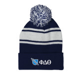 Navy/White Two Tone Knit Pom Beanie with Cuff-Shield/Phi Delta Theta Symbols