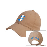 Khaki Twill Unstructured Low Profile Hat-New Jersey