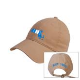 Khaki Twill Unstructured Low Profile Hat-Massachusetts