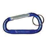 Blue Carabiner with Split Ring-Shield/Phi Delta Theta Engraved