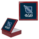 Red Mahogany Accessory Box With 6 x 6 Tile-Stacked Shield/Phi Delta Theta