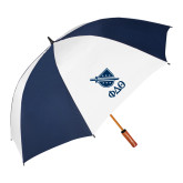 62 Inch Navy/White Umbrella-Stacked Shield/Phi Delta Theta Symbols