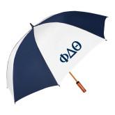 62 Inch Navy/White Umbrella-Phi Delta Theta Symbols