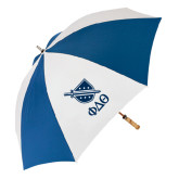 62 Inch Royal/White Umbrella-Stacked Shield/Phi Delta Theta Symbols